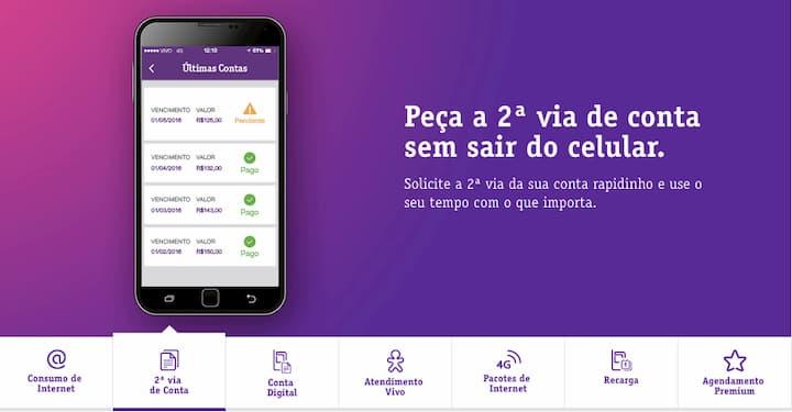 2 via de conta app vivo
